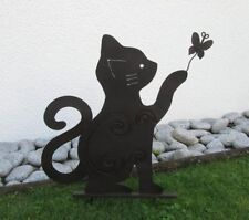 """Gartenstecker Katze mit Schmetterling 50cm Metall """"schönes Design"""" 2373"""