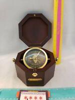 State Farm IL Bulova Wooden Case Maritime Quartermaster Desk Brass Clock Germany