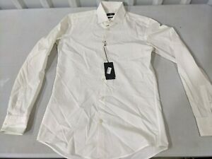 Hugo Boss Men's Jason Slim Fit Easy Iron Cotton White DEFECTS - STAINS Size 15
