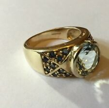 GTV Hallmarked 9ct 9k Yellow Gold Round Aquamarine Sapphire Ring Size N
