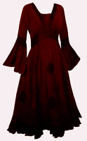 LONG RED MEDIEVAL PRINCESS DRESS 10 12 14 16 18 20 22 24 26 28 30 32 mystic goth