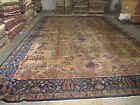 Antique Distressed  Indo Lahore Larestan Rug Hand Knotted Wool 11'9 x 17'6 Worn