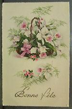 cpa fantaisie bouquet de fleurs blanches dans un panier