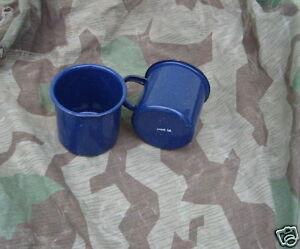 Wehrmacht 2 Emaille Kaffee Becher mtd 44 WWII WK2 Coffee Mug LW Cup Messkit WW2