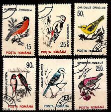 RUMANIA 6 sellos matasellados pájaros la madera y brocas, 1M28a