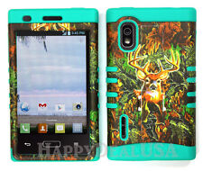 Hybrid Silicone Cover Case for LG Optimus Extreme L40g / L5 - Camo Mossy Deer