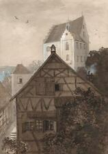 GENERAL CHARLES D'AGUILAR Watercolour Painting BUILDINGS AT LAKE CONSTANCE c1840