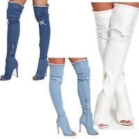 DIVADAMES WomensDistressed Denim OverThe Knee ThighHigh Boots StretchyStilettos