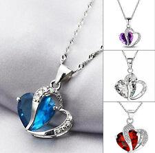 REGALO para mujeres collar plateado y colgante corazón en cristal varios colores