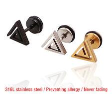 Women Men Pair Titanium steel Triangle Stud Earrings Anti Allergy Ear Stud X73E