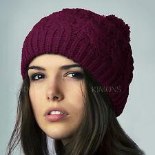 POM-POM Knit Slouchy Baggy Beanie Oversize Winter Hat Ski Cap Skull Womens