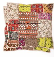 """2 PC 16"""" Cushion Pillow Cover Handmade Patchwork Beaded Embroidered Throw Indian"""