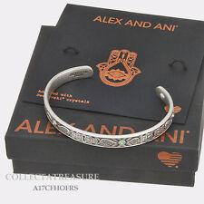 Authentic Alex and Ani Hand Of Fatima Cuff Rafaelian Silver Bangle CUFF