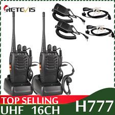 Retevis H777 Walkie Talkie two Way Radio rechargeable 1000mAh Uhf handheld 2Pcs