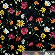 BonEful Fabric FQ Cotton Quilt Black White Pink Yellow Daisy Flower Green Leaf S