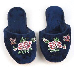 Handmade Embroidered Floral Chinese Women's Velvet Slippers Blue Red Black New