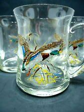 VINTAGE 1960s CLEAR GLASS CUPS MUGS SET OF 3 MALLARD DUCKS BLOWN APLLIED HANDLES