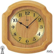 Ams 41 Wall Clock Rc Solid Wood oak Kitchen Radio Controlled Living Room 466
