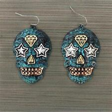 TURQUOISE PATINA BLUE SUGAR SKULL STAR WESTERN JEWELRY HOOK EARRINGS 2.5""