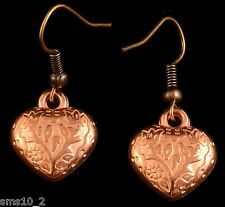 Hand Made Copper Colour Heart  Earrings HCE179