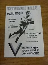 04/10/1981 Rugby League Programme: Whitehaven v Featherstone (Creased)