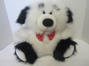 Dakin Fun Farm 1985 11in White Black Puppy Dog Red Bone Bow Stuffed Plush Animal