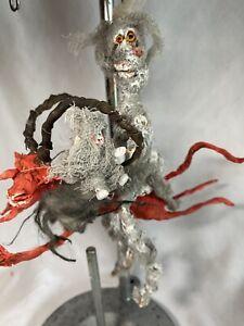 "HANDMADE CREEPY HALLOWEEN WICKED MUMMY RIDING SPOOKY RED DEVIL 7"""
