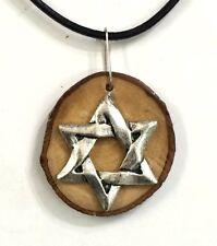 Israeli art Olive wood pendant Necklace with Star of David Judaica Israel P048
