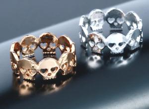 Skull Ring in Silver or Gold Colour Size 7. UK Seller.  Halloween, Vampire, Goth