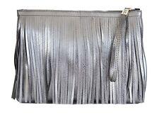 GIANNI CHIARINI DESIGH GUM Numbers Maxi Fringe Clutch Bag Gray PVC
