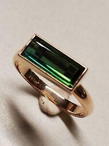 Custom made 14k Bi- Color Blue Green Tourmaline Ring
