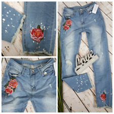 NEU SKINNY RÖHREN DESTROYED JEANS PANTS STRETCH STICKEREI BLUMEN 🌺 M 38