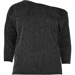 River Island Womens Off Shoulder Glitter Top Long Sleeve Plus Size 18-28