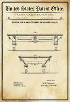 US Patent Billard Tisch Table 1872 Blechschild Schild Metal Tin Sign 20 x 30 cm