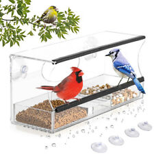 Large Window Bird Feeder Tray Birdhouse Transparent Acrylic Clear View 2 Perches