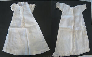 Antique White Cotton Doll Nightgowns/Chemises Handmade 1900s Victorian/Edwardian