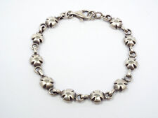 Vintage Sterling Silver Puffy Iron Cross Link Bracelet, 8""