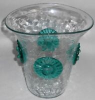 MID CENTURY MODERN Vintage BLENKO Hand Crafted CRACKLE GLASS Vase w/ROSETTES