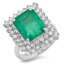 Certified 6.25cttw Emerald 1.50cttw Diamond 14KT White Gold Ring