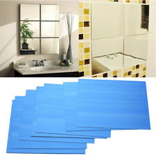 9X Big Square Mirror Tile Wall Stickers 3D Decal Mosaic Home Living Room Decor Z