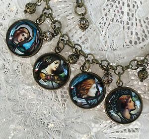 ANGELS Glass Dome CHARM BRACELET Antique STAINED GLASS WINDOWS Church RELIGIOUS