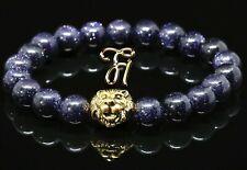 Turquoise Gemstones Blue - Gold-Coloured Lionhead - Bracelet Pearl Bracelet 8mm