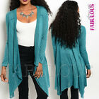 Sexy Women's Open Front Cardigan Jumper Jacket Knit Top Size 6 8 10 12 XS S M L