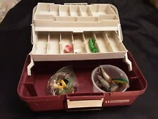 Woodstream Tackle Box Maroon Two(2) Trays 13.5 x 7.5 x 7.5 w tackle preowned