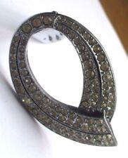 Ancien clips déco bijou vintage couleur argent cristaux diamant jaune 1810
