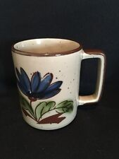Vintage Coffee Mug Blue Flower Design Brown Speckle Brown Trim Made in Japan