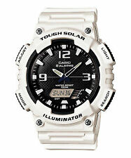 Casio Aqs810wc-7a Mens Tough Solar Digital Sports Watch 5 Alarms Glossy White