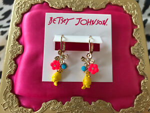 Betsey Johnson Granny Chic Yellow Canary Bird Neon Hot Pink Blue Flower Earrings