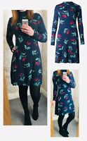 Brand New Ladies Ex M*S Navy Floral Jersey Swing Tea Shift Skater Day Dress