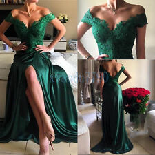 New Long Formal Party Evening Cocktail Ball Bridesmaid GreenLace Prom Gown Dress